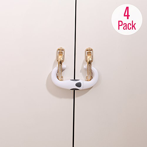 Door Double Cupboards (Eudemon Child Proofing Cupboard,Cabinet,Bookcases Locks with Double Doors Used in Kitchen,Bathroom & etc. (4 Pack, White))