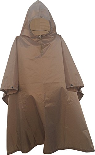 Nylon Poncho - Fire Force Military Style Ripstop Nylon Poncho Size: 55 x 90 Made in U.S.A. Ripstop Rain Poncho (Coyote Brown)