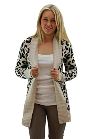 Girltalkfashions Women Chuncky Leopard Print Long Sleeve Cardigan ...