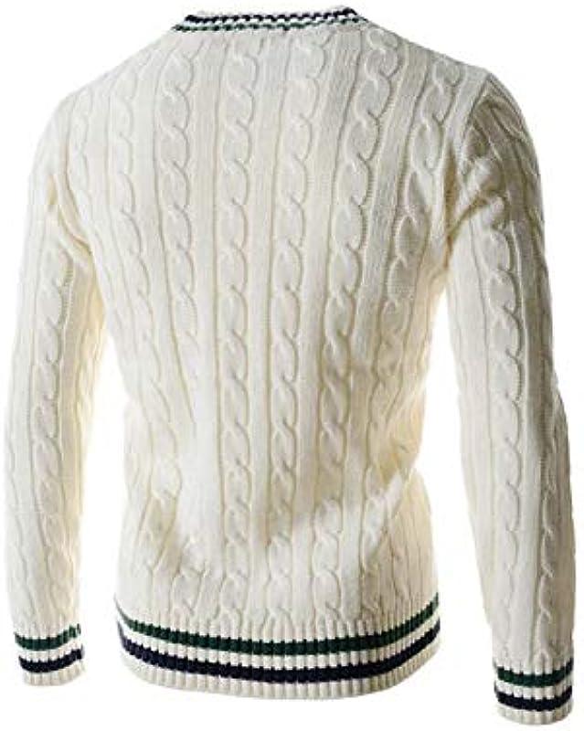 Vepodrau męski sweter dziergany z wzorem warkocza swobodny dekolt szydełkowany sweter: Odzież