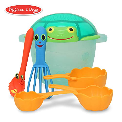 Melissa & Doug Sunny Patch Seaside Sidekicks Sand Baking Set (Pretend Play, Beach Toys for Kids, 7 Pieces)