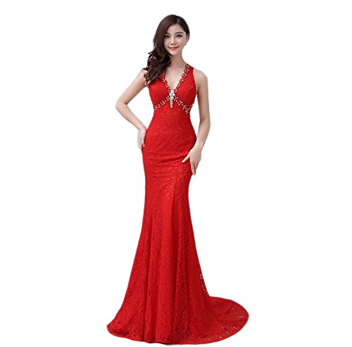 VogueZone009 Womens V-Neck Lace Formal Dresses with Sweep Train and Charms, Red, 16 by VogueZone009