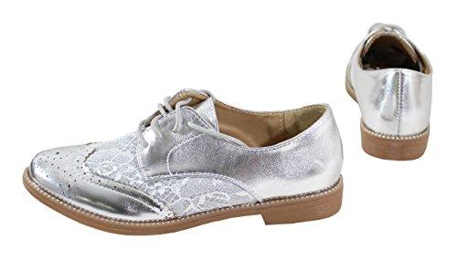 Silver By Femme BI Matière Shoes avec Dentelle Derbies qHx16q0