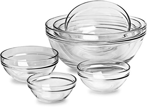 (Circleware Basic Huge Set of 7, Nested Glass Serving Mixing Bowls Set for Fruits, Salad, Dessert and all Food - 4