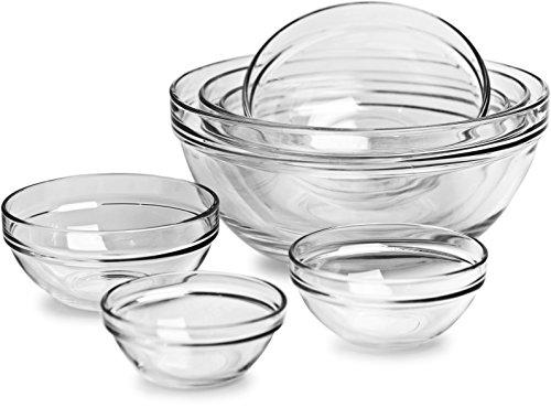 """Circleware Basic Huge Set of 7, Nested Glass Serving Mixing Bowls Set for Fruits, Salad, Dessert and all Food - 4"""", 4.5"""", 5.5"""", 6.5"""", 7.5"""", 8.75"""", 10"""", Dishwasher Safe"""