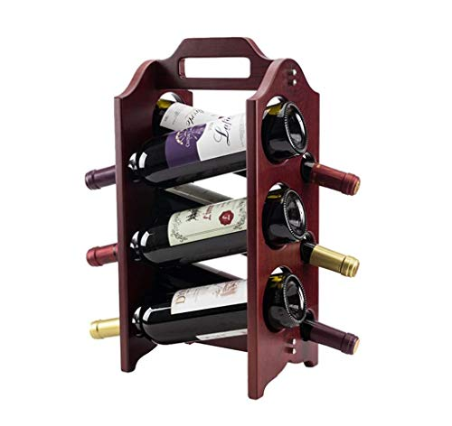 (Waitousanqi 6 Bottles of Wine Rack Solid Wood Collection Rack Bar Kitchen Display Stand / L24cm × W24cm × H44cm q45)