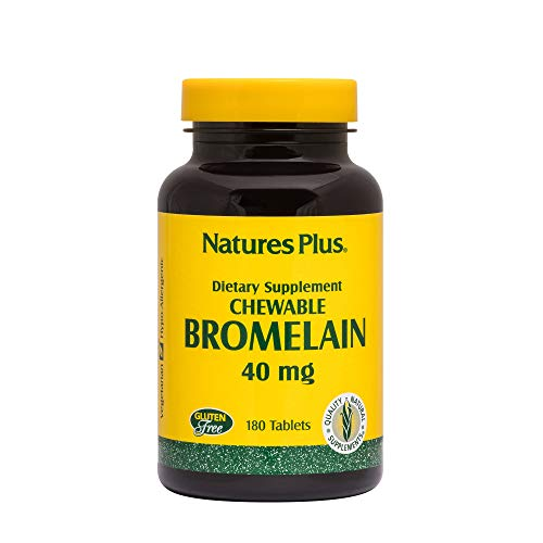 (NaturesPlus Chewable Bromelain - 40 mg, 180 Chewable Tablets - Natural Proteolytic Enzyme Supplement, Sinus Support, Anti-Inflammatory - Vegetarian, Gluten-Free - 180)