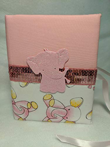 Baby Girl Personalized Photo Album with Elephants- Holds 100 4 x 6 Photos - Handmade - So Cute!