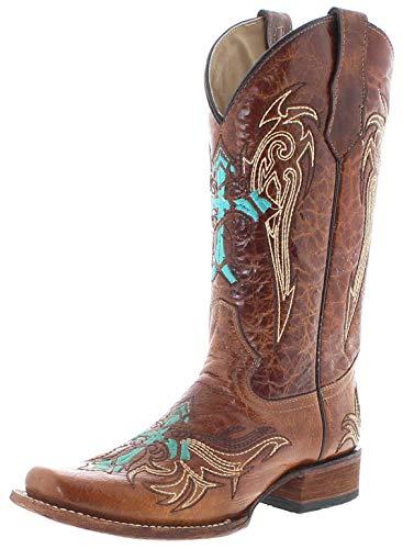 Circle G Boots Damen Cowboy Stiefel L5463 Lederstiefel Westernstiefel Braun