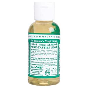 dr bronner 39 s fair trade organic castile liquid soap almond 2 oz size 2 oz. Black Bedroom Furniture Sets. Home Design Ideas