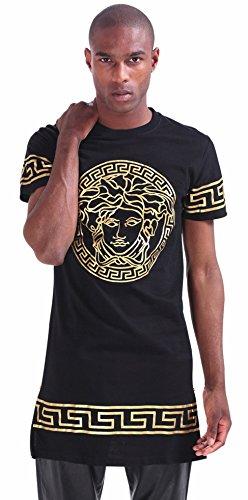 Pizoff Unisex Golden Medusa Luxury Extra Long Baroque Side Zip T Shirt P3194-Black-L