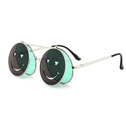 para las gafas ZHANGYUSEN de femenino bastidor Steampunk de clip 2018 sol amarillo Mesas plegables metal sol de Vintage gafas de Marco verde plateado mujeres rojo IFEaEq