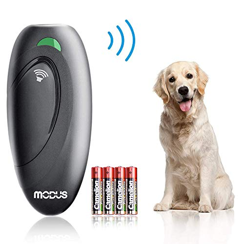 Modus Anti Barking Device, Ultrasonic Dog Bark Deterrent and 2 in 1 Dog Training Aid Control Range of 16.4 Ft w/Anti-Static Wrist Strap LED Indicate 100% Safe Walk a Dog Outdoor (Best Dogs For Apartments No Barking)