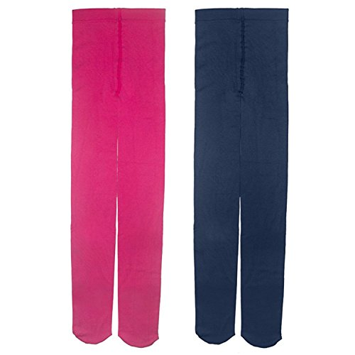 Baby Girl Kid Child Thick Winter Fleece Dance Footed Pants Tights Leggings Blue & Rosie (2 Pack) 12-14 Years - Online Designer Uk Outlet