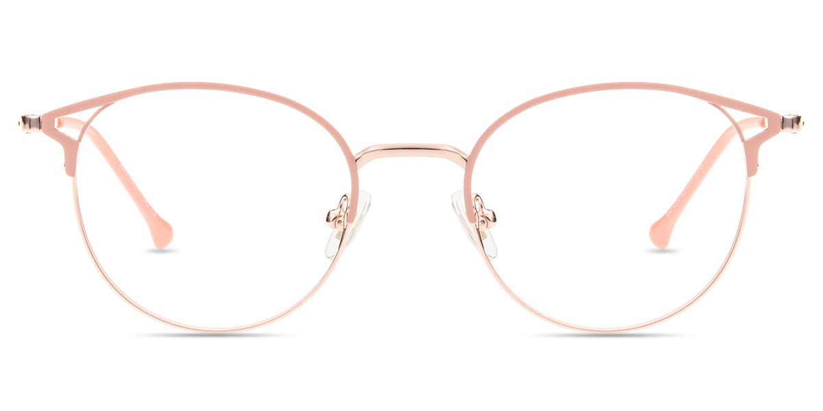 Firmoo Women Chic Metal Round Cateye Non-Prescription Computer Reading Glasses with Blue Light Blocking Lens