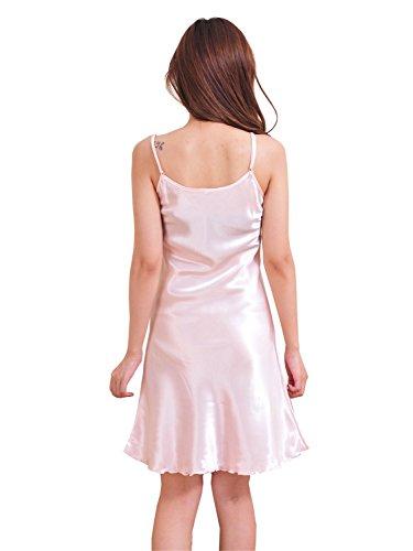 Feoya Chemises de nuit Femme Satin Sexy Fines Bretelles Pyjamas robe - Rose