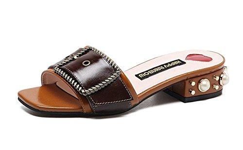 GLTER Femmes Pompes Slip On Mule Boucle De Ceinture Talon Britannique Mode Marguerite De Perle Pantoufles Forme T Low Heel PU Sandales Solides Noir Beige Khaki