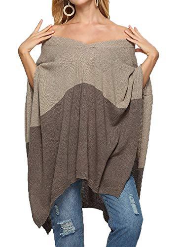 - HZSONNE Women's Speckled Fringe Cardigan Tassel Asymmetrical Hem Shawl Heap Collar Casual Sweater Poncho (Khaki & Brown, One Size)