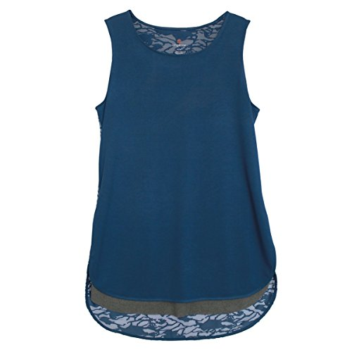 Tangerine Womens Athleisure Burnout Layered Tank Top (Medium, Blue)