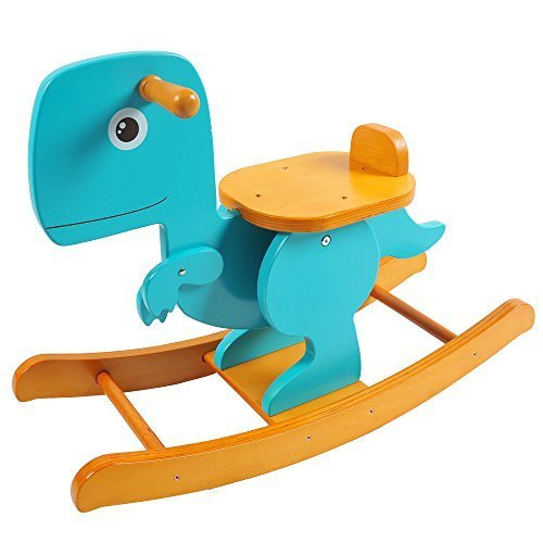 Labebe Wooden Dinosaur Rocking Horse for Baby Swing Rocker
