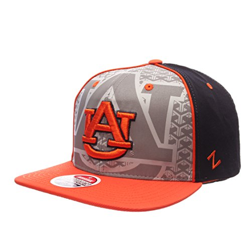 NCAA Auburn Tigers Mens Reflector Snapback Hat, Silver/Navy, Adjustable