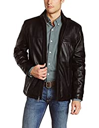 Mens Black Genuine Lambskin Leather Jacket - 1501135