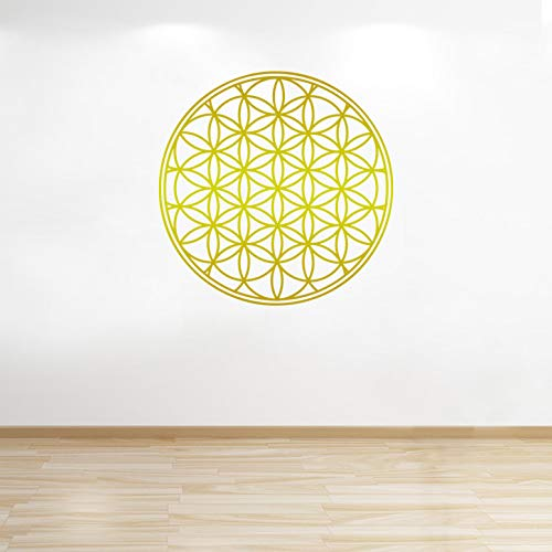 Personalized Gift Co Flower of Life Decal, Boho Decals, Vinyl Mandala Decal, Flower of Life Sticker, Mandala Decal, Seed of Life, Wall Decals, Geometric (36in, Gold)