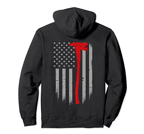 Firefighter Adult Hoody Sweatshirt (Unisex Firefighter Axe Hoodie Thin Red Line Support Large Black)