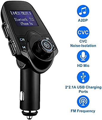 MMOBIEL Bluetooth FM Transmitter 120/° Rotation Car Radio Adapter Kit with 4 Music Play Modes//Hands-Free Calling//TF Card//USB Car Charger//Flash Drive AUX Input//Output 1.44 inch LCD Display MM-T11