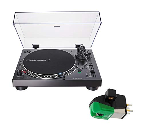 Audio Technica AT-LP120XUSB Direct-Drive Wired DJ Turntable Bundle with Replacement Cartridge - (AT-VM95E) Black