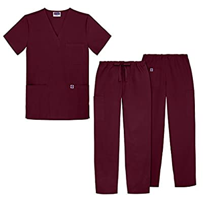 Sivvan Unisex Classic Scrub Set V-neck Top / Drawstring Pants (Available in 12 Solid Colors)