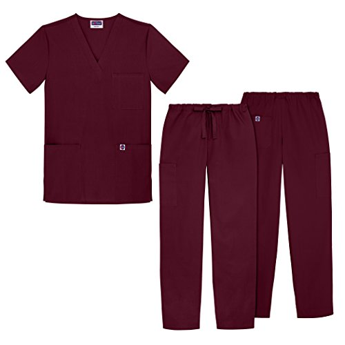 sivvan-unisex-classic-scrub-set-v-neck-top-drawstring-pants-available-in-12-solid-colors-s8400-burgu