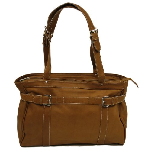 Piel Leather Belted Computer Tote, Saddle, One (Belted Laptop Tote)