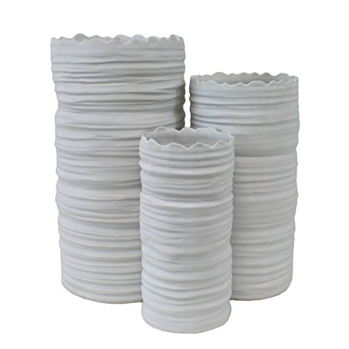 TIC Collection 17-446 Lace Vases, Set of - Monochromatic Trio