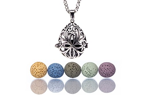 Essential Oil Aromatherapy Diffuser Necklace with Large Teardrop Locket Pendant, Colored Lava Stones | 24