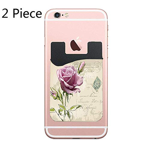 - Vintage Postcard Design with Delicate Rose Blossom Hand Drawing Artsy Print Decorative Card Secure Holder Stick on PU Wallet Pouch Support iPhone Or Android Smartphones