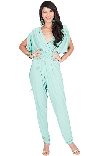 KOH KOH Womens Long Sexy V-Neck Short Sleeve Cocktail Pant Suit Jumpsuit Romper