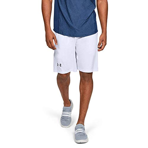 Under Armour mens Raid 10-inch Workout Gym Short, White (100)/Graphite, Medium
