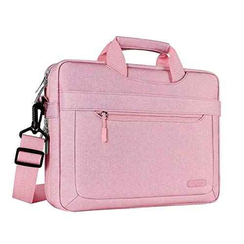 MOSISO Laptop Shoulder Bag Compatible with 13-13.3 inch MacBook Pro, MacBook Air, Notebook Computer, Polyester Messenger Carrying Briefcase Sleeve with Adjustable Depth at Bottom, Pink