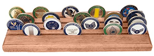 Row Coin Display (DECOMIL - 4 Rows Military and Challenge Coin Display Stand Rack with Metal Base)