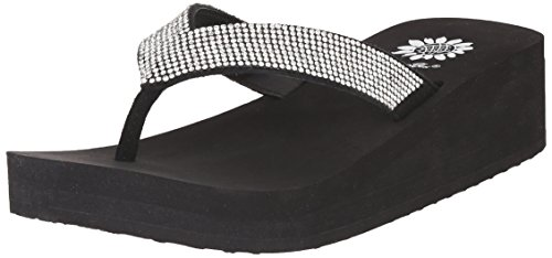 Yellow Box Women's Cliff Wedge Flip Flop, Black/Clear, 9 M - Flip Box Flop Jewelry