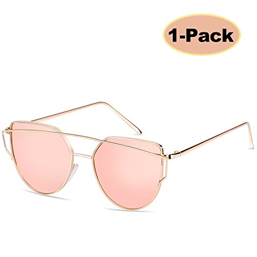 Cool Contact Lenses (Elimoons Cat Eye Sunglasses Women Mirrored Lenses Metal Frame UV 400 Fashion Glasse)