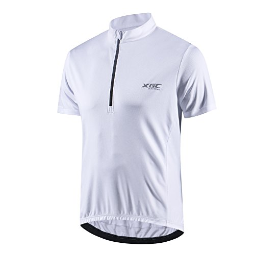 (XGC Men's Short Sleeve Cycling Jersey Bike Jerseys Cycle Biking Shirt with Quick Dry Breathable Fabric (White,)