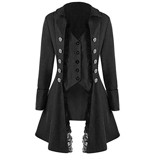 Women Retro Lace Trim Buttons Up Vintage Irregular Tailcoat Gothic Victorian Steampunk Coat (M, Black) ()