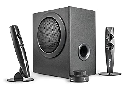 Wavemaster STAX – Kit d'enceintes 2.1 Stereo (46 Watt) Pour TV – gaming – smartphone – PC – tablette – Compatible STREAMPORT