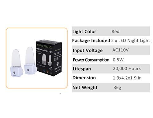 0.5W Plug in Light Sensor LED Red Night Light for Bedroom, Bathroom, Kitchen, Hallway 2 Pack