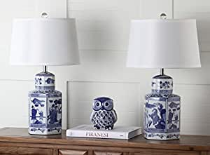 """Safavieh Lighting Collection Judy White & Blue Table Lamp (Set of 2), 23.5"""""""