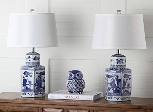 Safavieh Lighting Collection Judy White & Blue Table Lamp (Set of 2), 23.5""