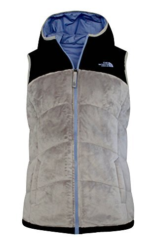 The North Face Girls Youth PERSEUS Hodded REVERSIBLE Insulated Full Zip VEST (M, Ashes of roses grey) (Reversible Insulated Vest)