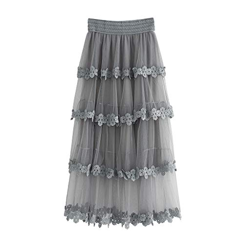 SOWU Women Chiffin Skirt Ladies Fashion Sexy High Waist Ruffle Mesh Tutu Skirt Sheer Net Tulle Gown Pleated Maxi Party Gray